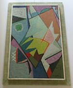 Mary Pottinger Painting Mid Century Abstract Geometric Large 1950 Cubism Cubist