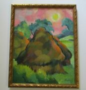 Antique Frederick Buchholz Painting Americana Expressionist Hay Stack Farm 1920