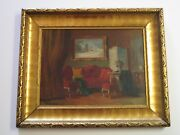 Antique 19th To 20th Century Interior Painting Fine Home Furnishing Art Deco