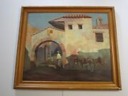 Antique Clay Kelly Painting Wpa Mexico Donkey Burro Landscape Architecture Big