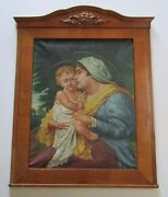 Antique Art Deco Era Painting Religious Icon Biblical Signed 19th To 20th Old