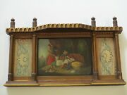 Antique 19th Century Orientalism Painting Portrait With Textiles And Ornate Frame