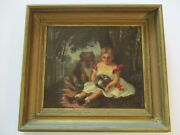 Antique 19th Century Oil Painting Child Animals Dog Curled Up Kitty Cat 1840and039s