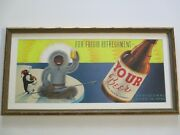 Listed Signed Rare Painting Beer Design 1950and039s Illustration Eskimo Indian Mod