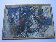 Finest Kaoru Uehashi Painting 1960 Japanese Expressionist Large Abstract Oil Mod