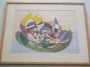 Geraldine Sinclair Painting Vintage 1960and039s Retro Abstract Colorful Cubism Cubist