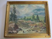 Fred Brunish Painting Twin Peaks Antique American Landscape Painting Mountains