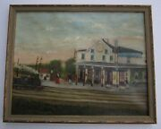 Incredible Folk Painting Antique Old Train Station Signed Whimsical Masterful