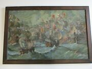 Incredible Nautical Large Oil Painting Antique Ships Mystery Artist Signed Port