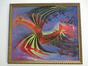 Vintage 1960 Painting Cubist Cubism Abstract Expressionism Bird Flying Modernism