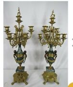 Vintage Brevetto Brass And Green Marble Candelabras
