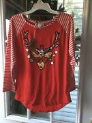 Girls Poof Girl Red Stripe Cool Sequin Reindeer Christmas Shirt Large Nwt Soft