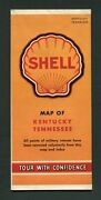 Shell Gas Station Kentucky And Tennessee Wwii Note Vintage 1940s Road Map 999115