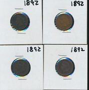 Indian Head Pennies - 1892 Lot Of 4