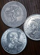 75 Pecos - 2 1968 And 1 1972 Mexican Silver Coins