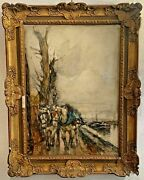 Antique Painting In Watercolor On Cardboard Signed Lower Left By Paolo Sala
