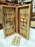 3 In 1 Wooden Board Rare Set Game Set Checkers Vintage Antique Chess Backgammon
