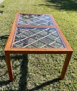 Brighton Pavillon Tortoise Shell Bamboo And Glass Dining Table/ Mid Century