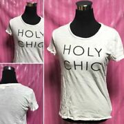 Old Navy White And039holy Chicand039 Tee T-shirt Top Blouse S/p Fits M