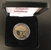 Latvia Gold Coin 100 Lats 1993 75 Years Of The Republic+certificate+box