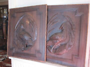 Pair Off Black Forest Panels Antiques French Wood Carving Hunting