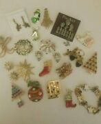 Vintage Holiday Seasonal 21 Pc Jewelry Lot Pins Earrings Christmas Not For Craft