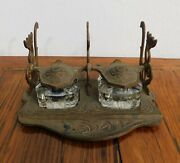 Vintage Cast Iron And Glass Double Inkwell And Pen Holder, Art Nouveau, Sealed
