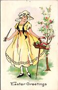 Easter Postcard Beautiful Young Woman Garden With Flowers136964