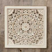 New Shabby Farmhouse Aged Antique White Scrolled Square Wood Wall Hanging 15