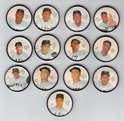 1962 Salada Junket Coins Set Of 13 San Francisco Giants With 2 Bailey Variations