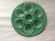 Oyster Plate Mid-century Green French Majolica Oyster Plate C.1950's