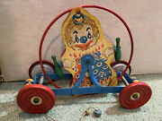 """1949 - 12"""" Vintage Gong Bell Mfg. Clown Pull Toy Original Heavy Metal Rare Toy"""