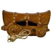 Van Briggle Pottery 1955-68 High Glaze Brown Covered Wagon Stagecoach Lamp