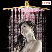 Gold Led Rainfall Shower Head Combo 8 Inch Square Top Sprayer Faucet Brass
