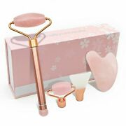 4-in-1 Rose Quartz Jade Roller And Gua Sha For Face Body Facial Therapy Massager