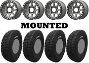 Kit 4 Tensor Dsr35 Tires 35x10-15 On Kmc Ks234 Addict 2 Beadlock Gray Wheels Can