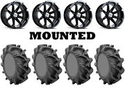 Kit 4 High Lifter Outlaw 3 Tires 33x9-18 On Msa M12 Diesel Black Wheels Can