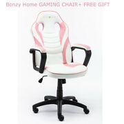 Ergonomic Racing Gaming Chair Pc Desk Swivel Office Executive Pu Leather Pink