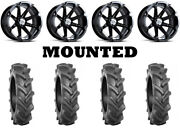 Kit 4 Bkt At 171 Tires 33x8-18 On Msa M12 Diesel Black Wheels Can