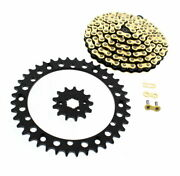 1989-2006 Yamaha Yfz 350 Banshee Gold Mx Cz Chain And Black Sprocket 13/40 104l