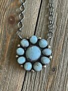 Kathleen Chavez Golden Hill Turquoise And Sterling Silver Cluster Necklace Signed