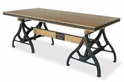 Industrial Sawhorse Dining Table - Cast Iron Base - Wood Beam - Natural