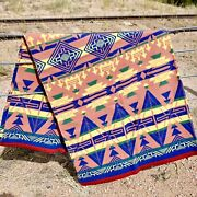 Camp Blanket Vintage Cotton Trading Post Beacon Mint Blue Red Southwest Rare