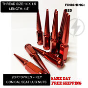 Fit Pontiac G8 2008-09 3/4and039and039 Hexandnbspspike Lug Nuts 14x1.5 Red Conical Seat 20pc+key