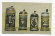 Germany 4 Mettlach Steins With People From Schwartz Collection Post Card 2558