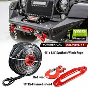 95and039 X 3/8 Synthetic Winch Rope 20500 Lb + 10 Hawse Fairlead + Clevis Hook Red