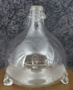 C. 1850 Antique Free Blown Glass Fly Trap Catcher Bottle W/ Applied Neck Ring 1