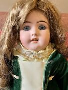 """Antique 22"""" German Bisque Handwerck Doll With Great Velvet Outfit"""
