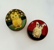 Vintage Authentic Models Wooden Kitty Cat Trinket Boxes With Lid Set Of 2