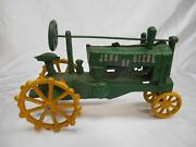 Old Vtg John Deere Cast Iron Tractor Toy Farm Vehicle Advertising Agriculture